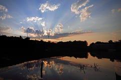 Coucher du soleil dans Vyborg Images stock