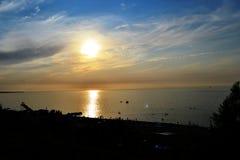 Coucher du soleil dans Yeysk Photos libres de droits