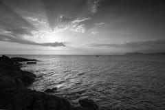 Coucher du soleil de B&W Photos libres de droits