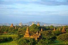 Coucher du soleil de Bagan Photo libre de droits