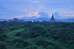 Coucher du soleil de Bagan Image libre de droits