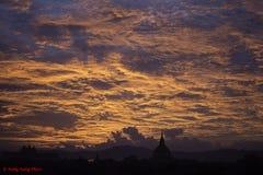 Coucher du soleil de Bagan Images libres de droits