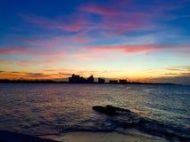 Coucher du soleil de Bahamar Photographie stock libre de droits