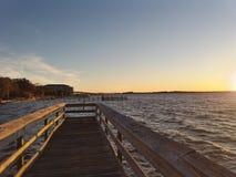 Coucher du soleil de baie photo libre de droits