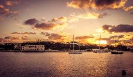 Coucher du soleil de baie de La Valette Images stock