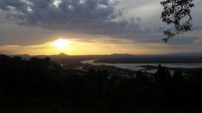 Coucher du soleil de baie de lagoona de Noosa Photographie stock