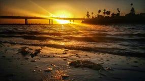 Coucher du soleil de baie de mission image stock
