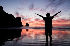 Coucher du soleil de baie de Morro photos stock