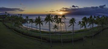 Coucher du soleil de baie de Kapalua Image stock