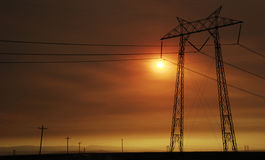 Coucher du soleil de Bakersfield Image libre de droits