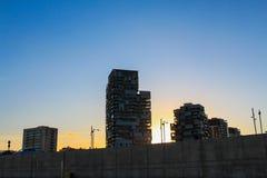 Coucher du soleil de Barcelone images stock