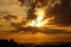 Coucher du soleil de Barmouth Image stock