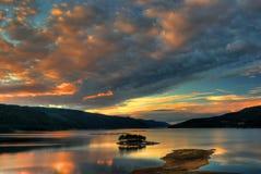 Coucher du soleil de barrage Image libre de droits