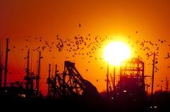 Coucher du soleil de bateau de pêche photographie stock libre de droits