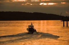 Coucher du soleil de bateau de Seattle Images libres de droits