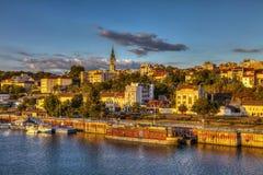 Coucher du soleil de Belgrade photo libre de droits