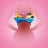 Coucher du soleil de bikini Images stock