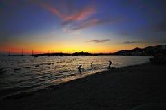 Coucher du soleil de Bodrum Photos stock