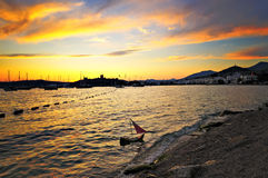 Coucher du soleil de Bodrum Photo stock