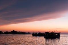 Coucher du soleil de bord de mer de Kota Kinabalu Photo stock