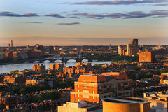 Coucher du soleil de Boston Photo libre de droits