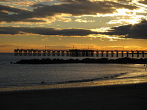 Coucher du soleil de Brighton Beach Image stock
