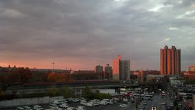 Coucher du soleil de Bronx Photographie stock