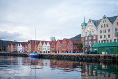 Coucher du soleil de Bryggen Photo libre de droits