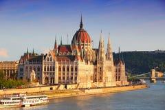 Coucher du soleil de Budapest Photos libres de droits