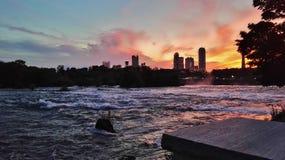 coucher du soleil de buffle Image stock