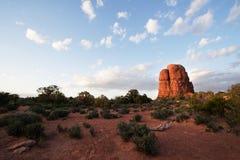 Coucher du soleil de butte de désert Photo stock
