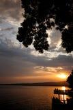 Coucher du soleil de côte Photo libre de droits