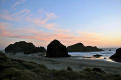 Coucher du soleil de côte de l'Orégon Photographie stock libre de droits