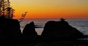 Coucher du soleil de côte de l'Orégon Photos stock