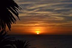 Coucher du soleil de côte de Montevideo Images stock