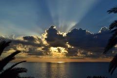 Coucher du soleil de côte de Montevideo Photos libres de droits