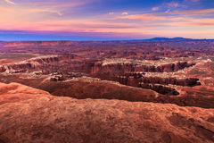 Coucher du soleil de Canyonlands Photo stock