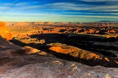 Coucher du soleil de Canyonlands Photographie stock