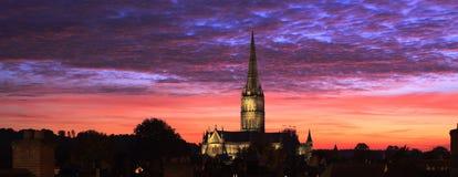Coucher du soleil de cathédrale Images libres de droits