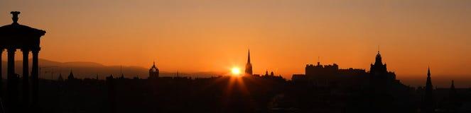 Coucher du soleil de château d'Edimbourg Photos libres de droits