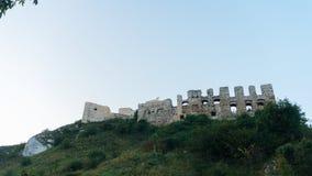Coucher du soleil de château de Rabsztyn en Pologne Photo stock