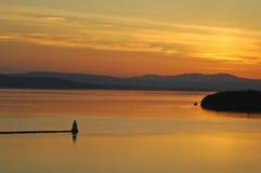 Coucher du soleil de Champlain images libres de droits