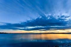 Coucher du soleil de Champlain de lac photo libre de droits
