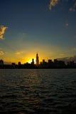 Coucher du soleil de Chicago Photo stock