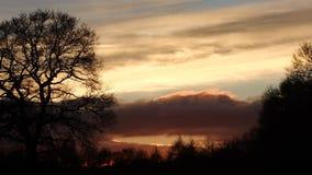Coucher du soleil de ciel du feu Photos libres de droits
