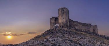 Coucher du soleil de citadelle d'Enisala photographie stock