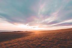Coucher du soleil de colline de Cleeve Image stock