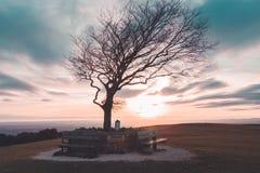 Coucher du soleil de colline de Cleeve Photos libres de droits