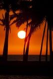 Coucher du soleil de compartiment d'Anaehoomalu Image libre de droits