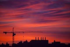 Coucher du soleil de constructions Photos libres de droits